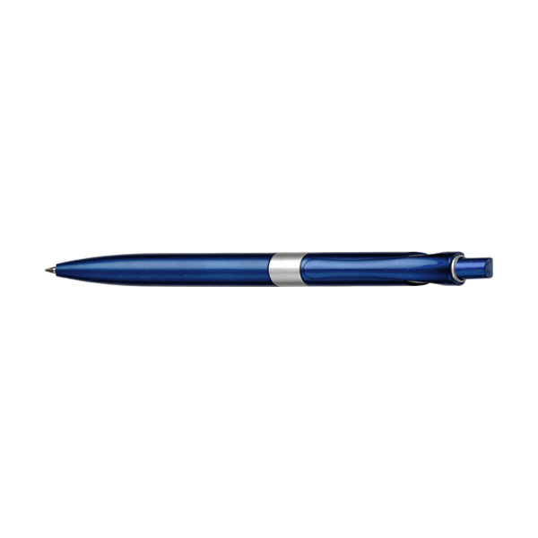 Plastic retractable ballpen with blue ink in blue