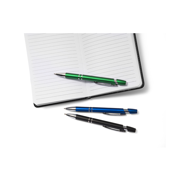 Plastic retractable ballpen with blue ink. in silver
