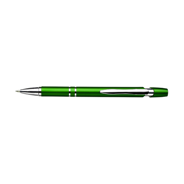 Plastic retractable ballpen with blue ink. in light-green