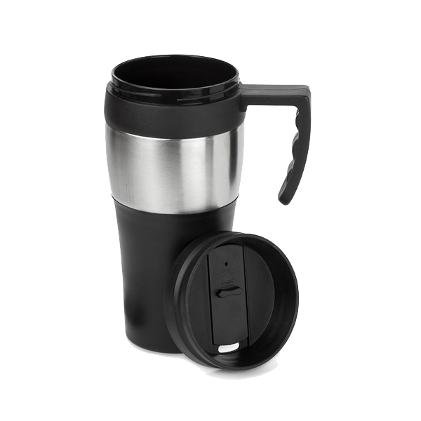 500ml Travel mug. in black-and-silver