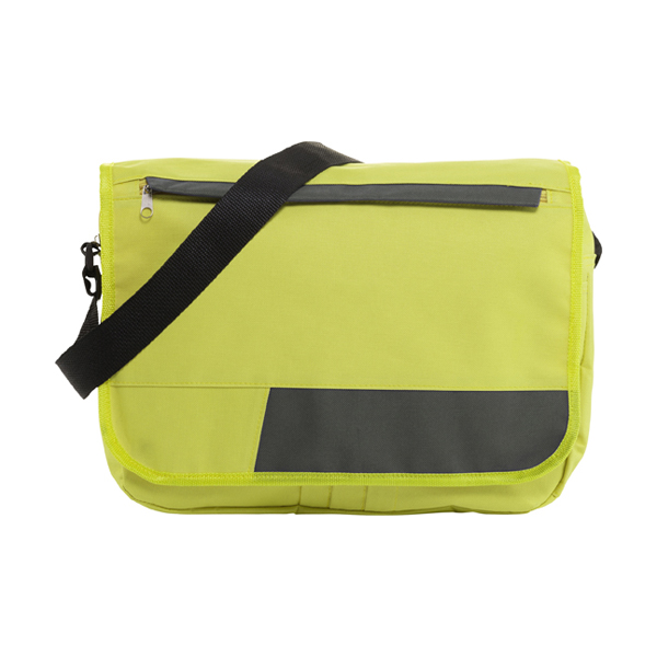 Polyester 600D document bag. in lime