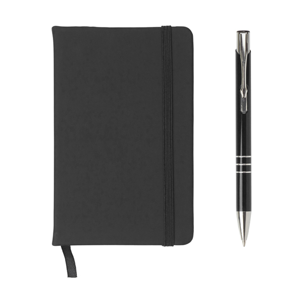 Notebook and ballpen set. in black