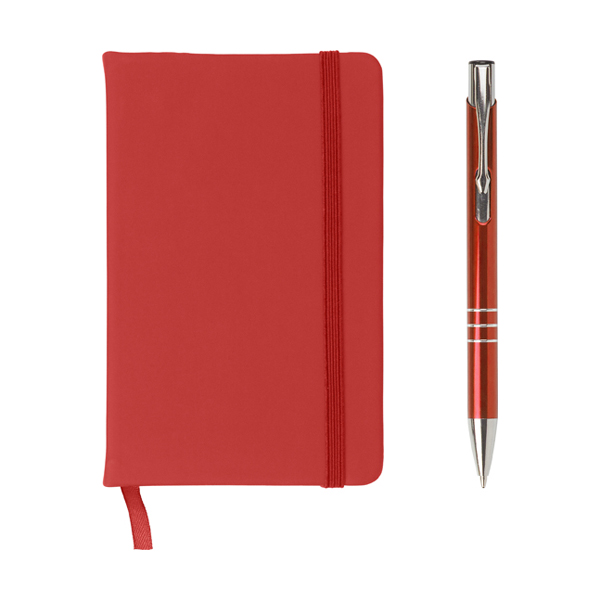 Notebook and ballpen set. in red