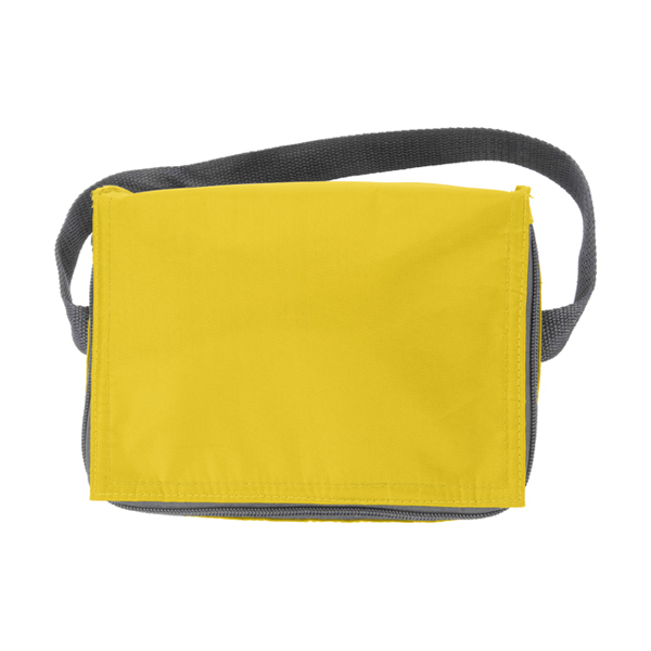 Six can polyester cooler bag. in yellow