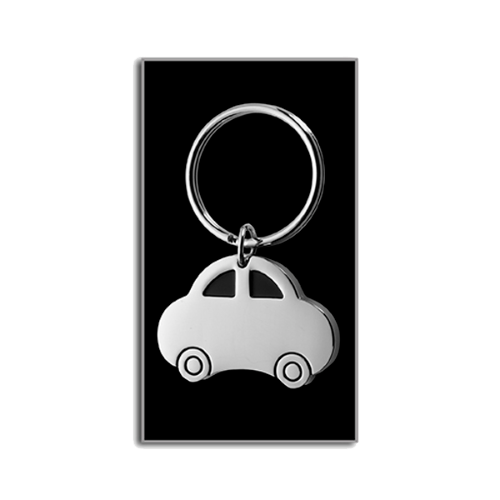 Car shaped metal key holder in silver