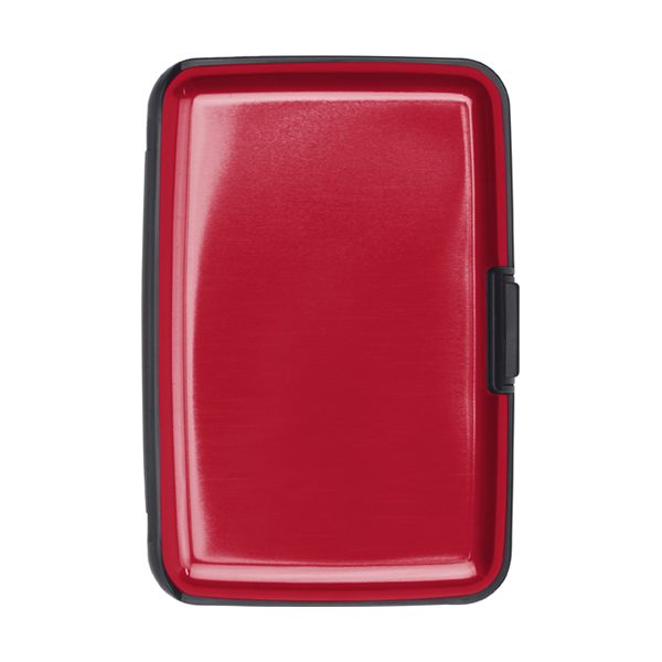 Aluminium and plastic credit/business card case in red