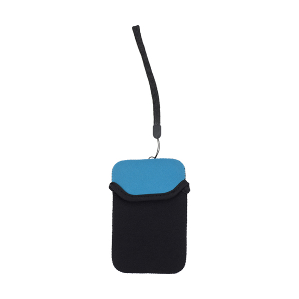 Neoprene mobile phone pouch with wrist strap. in light-blue
