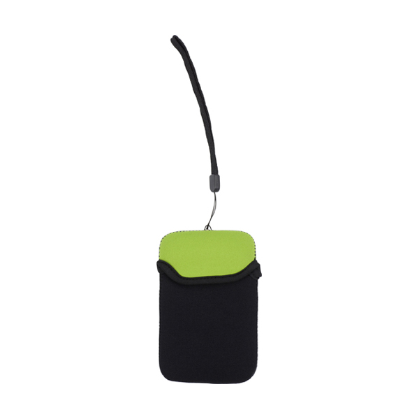 Neoprene mobile phone pouch with wrist strap. in light-green