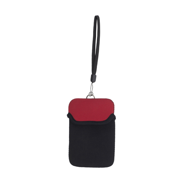 Neoprene mobile phone pouch with wrist strap. in red