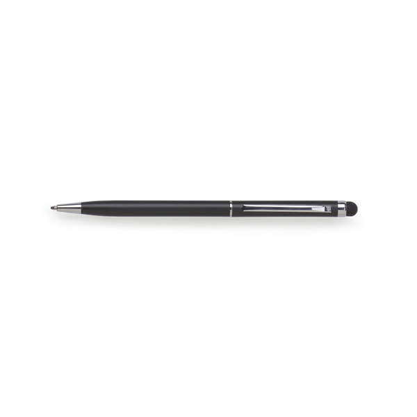 Metal ballpen with rubber tip. in silver