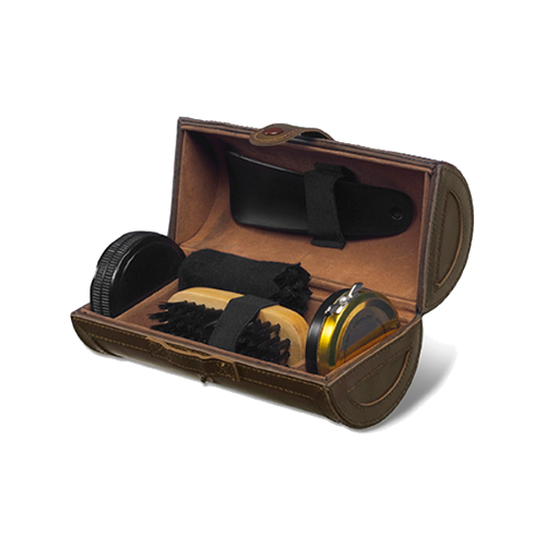 Shoe polish set in deluxe PU case in brown