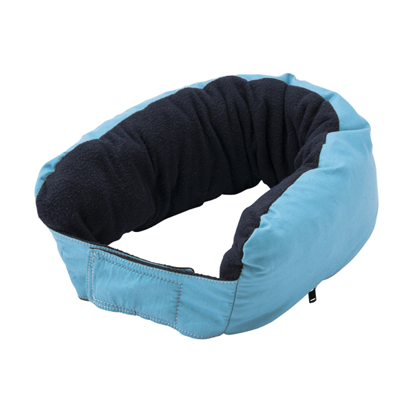 Multifunctional zipped neck pillow. in light-blue