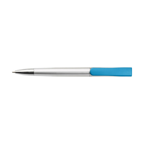 Plastic ballpen with coloured clip. in light-blue