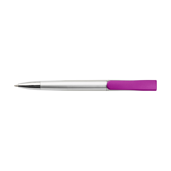 Plastic ballpen with coloured clip. in purple