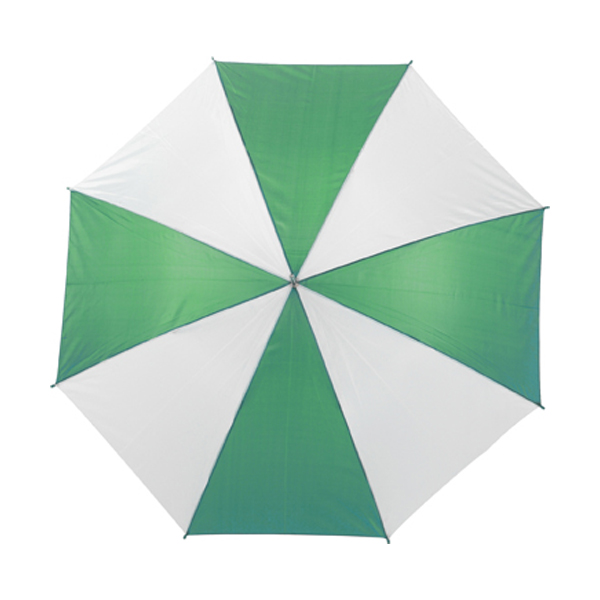 Umbrella with automatic opening. in green-and-white