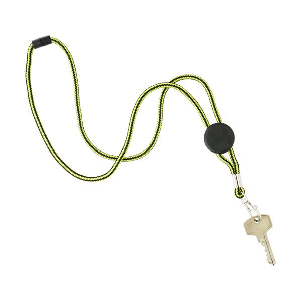 Nylon lanyard carabiner clip. in lime