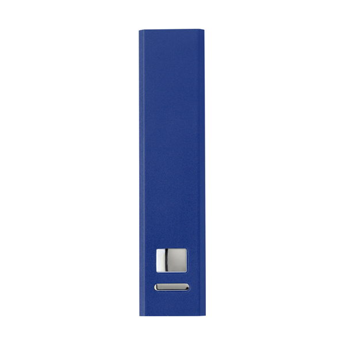 Aluminium power bank. in cobalt-blue