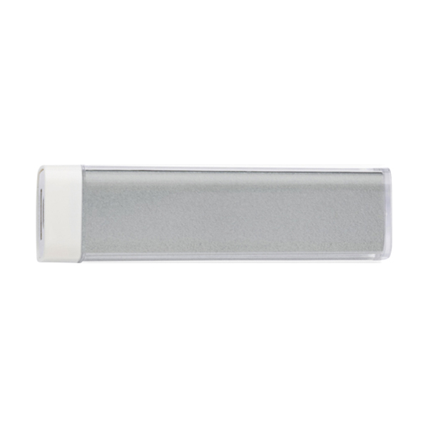 Plastic power bank. in silver