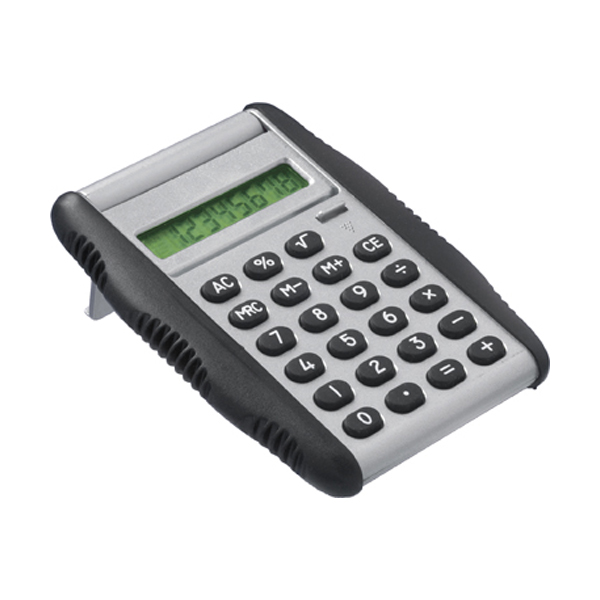 Calculator with rubber sides in silver