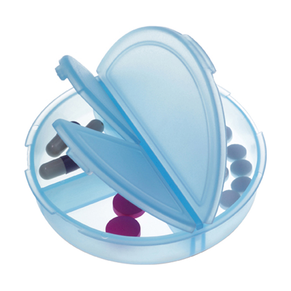 Plastic pill box in light-blue