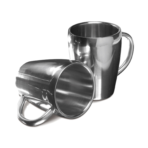 Set of two steel mugs in silver