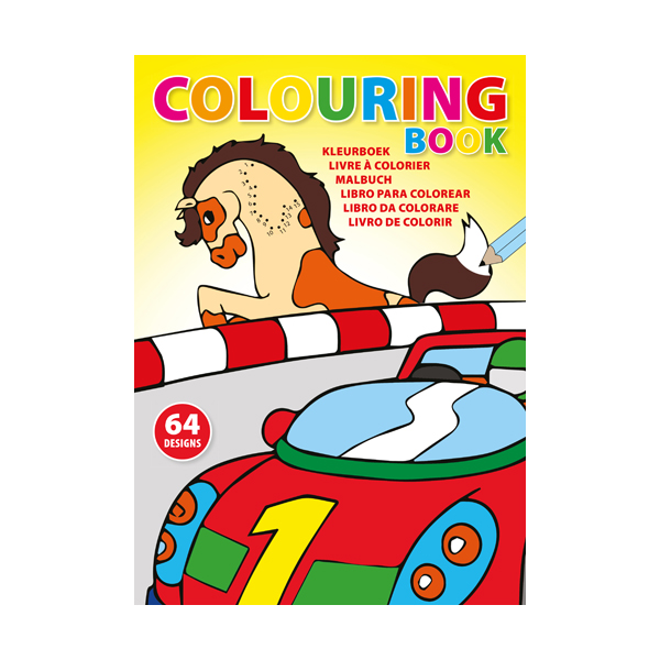 A4 Colouring book with 64 designs on 32 x 250gsm pages.