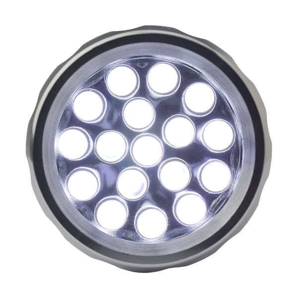 Torch with 17 LED lights in black-and-silver