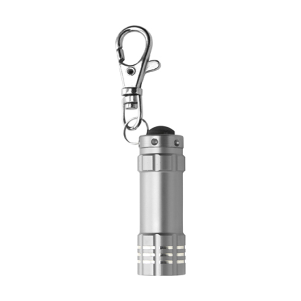 Small metal pocket torch in silver