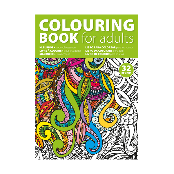 A4 adults colouring book with 32 designs on 250gsm paper.