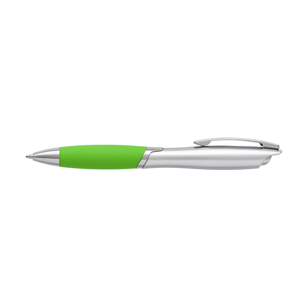 ABS ballpen with metal clip and rubber grip, blue ink.  in lime