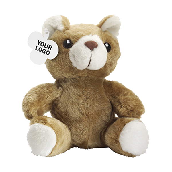 Teddy bear in a plush material. in brown