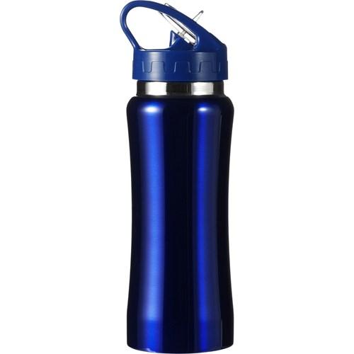Stainless steel drinking bottle in blue