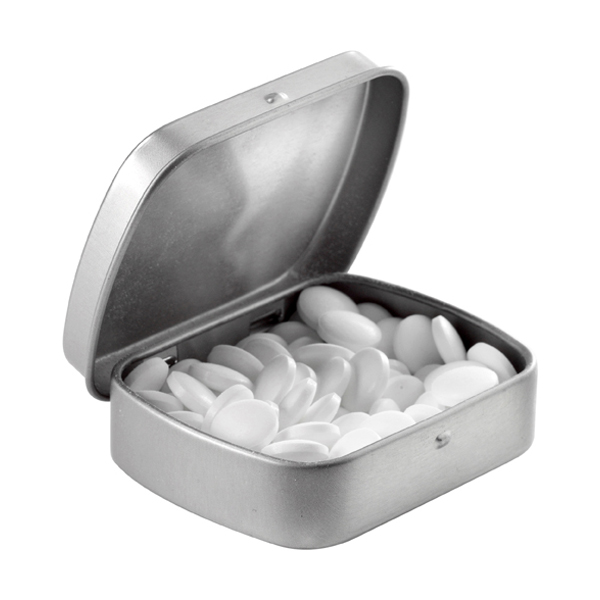 Tin case with mints in white