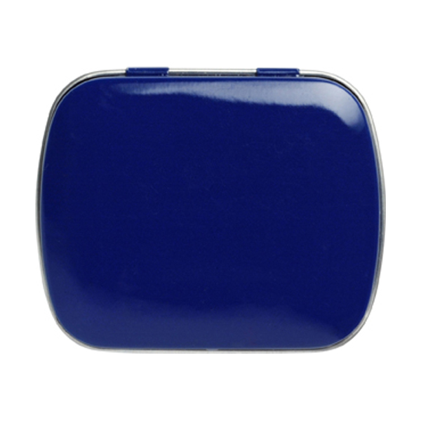 Tin case with mints in blue
