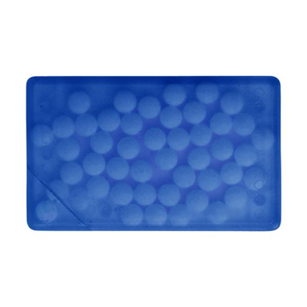 Rectangular mint card in cobalt-blue