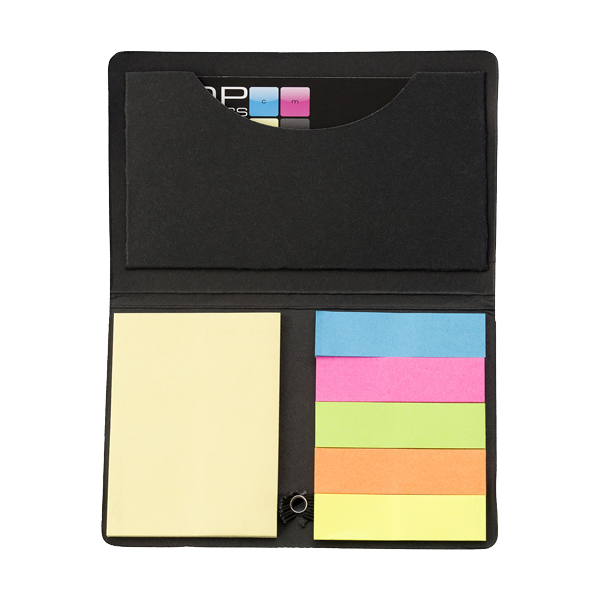 Card case with sticky tabs in