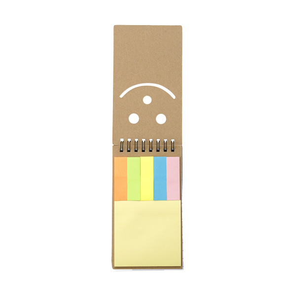 Notebook with sticky notes. in