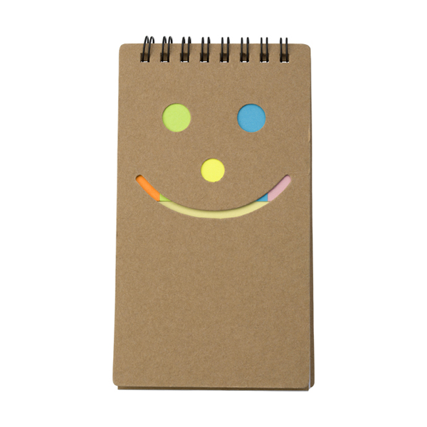Notebook with sticky notes. in brown