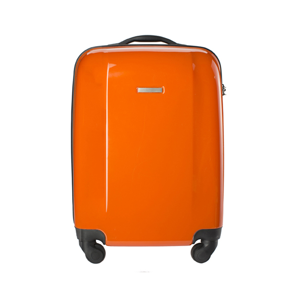Trolley with four spinner wheels. in orange