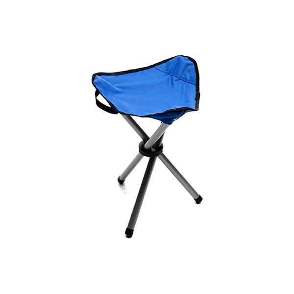Folding tripod stool in cobalt-blue