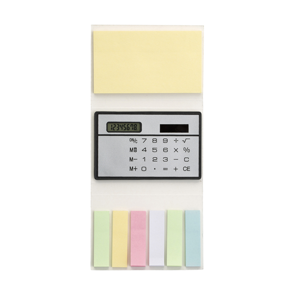 Booklet with sticky notes and calculator in silver