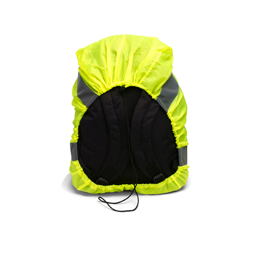 High visibility backpack cover in yellow