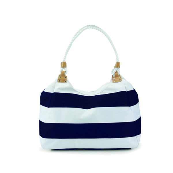 Travel bag with rope handles in blue-and-white
