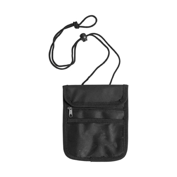 Travel wallet and neck cord in black