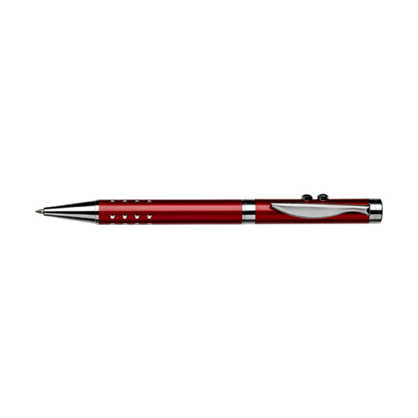 Ballpen with laser pointer in red