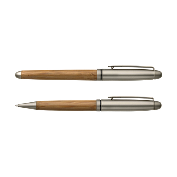 Pen set made from bamboo in brown