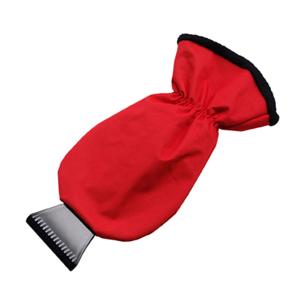 Ice scraper and polyester glove. in red