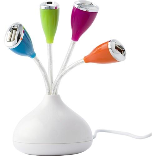 USB hub with four colourful ports.