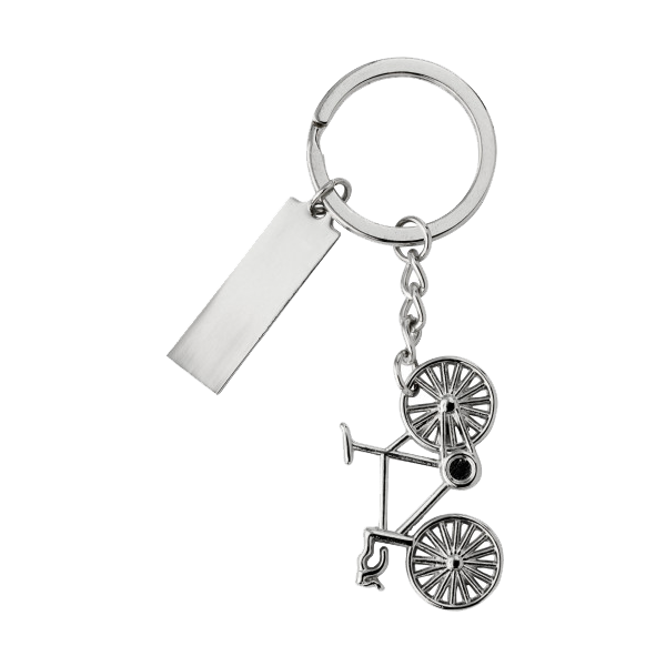 Nickel plated keychain. in silver