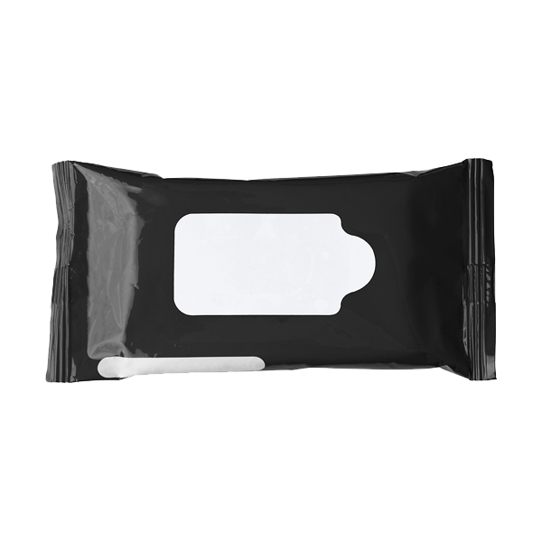 Bag with 10 wet tissues. in white